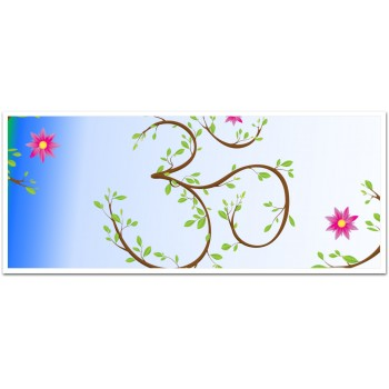 Om symbol with flower and leaves