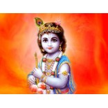 Baby Krishna in Orange background