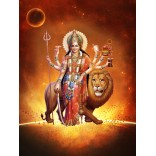 Goddess Durga in fire background