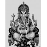 Black and white picture of Lord Vinayaka
