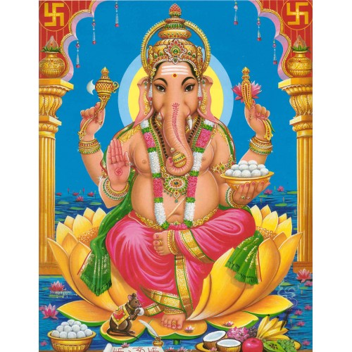Lord Ganesha in blue background