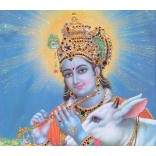 Krishna in blue glitter background