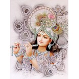 Krishna in glitter background