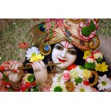 Iskcon Krishna with flower garland