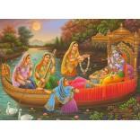Lord Krishna & Radha on boat