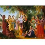Lord Krishna and Radha with Gopis