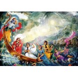 Lord Krishna on boat with Gopikas