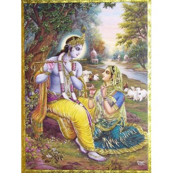 Lord Krishna teaching Radha to play flute