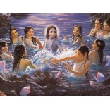 Krishna swims with gopis