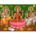 Goddess Lakshmi Saraswati and Ganapathy