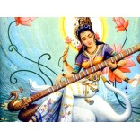 Painting of Goddess Saraswati playing the veena