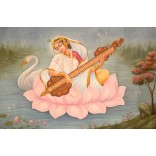 Painting of Goddess Saraswati sitting on the lotus