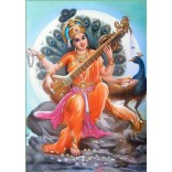Goddess Saraswati with peacock background