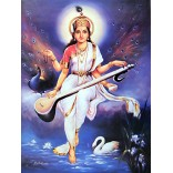 Goddess Saraswati sitting on rock